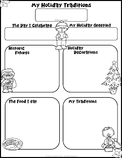 Use this free holiday traditions graphic organizer as morning work, a center, or for an early finisher!  It could even be used to write a paper on Christmas Traditions!