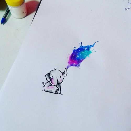 Watercolor Elephant Tattoo Designs
