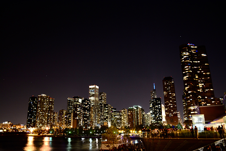 Chicago skyline at night from Navy Pier