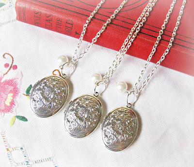 image bridal locket necklace set silver pearl mr darcy jane austen pride and prejudice wedding literature