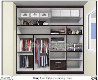 Lemari pakaian minimalis sliding cabinet full plafon 4 pintu