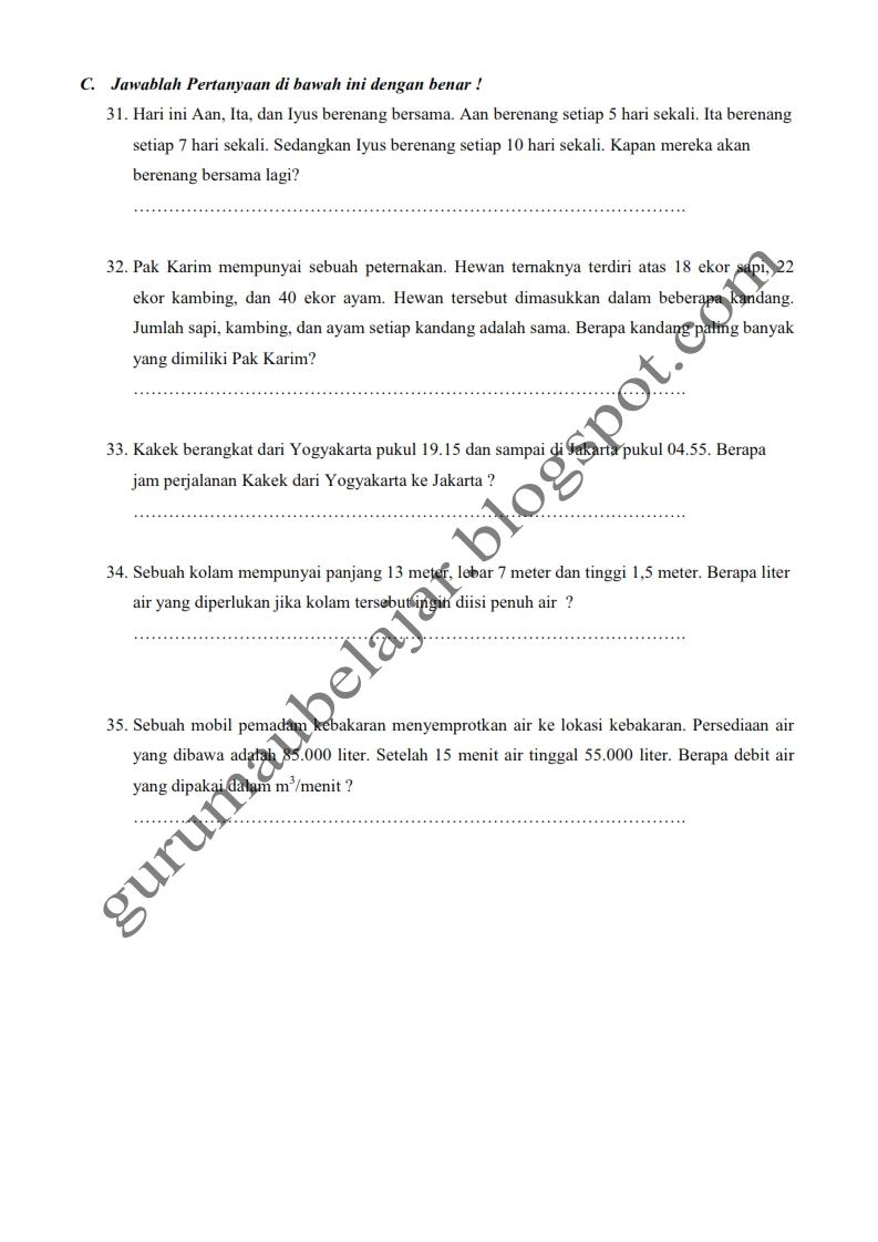 Contoh Soal Skl Sd Kelas 4 5 6 25 Soal Matematika Kelas Vi Sd Disertai Kunci Jawaban Latihan Soal Matematika Newhairstylesformen2014