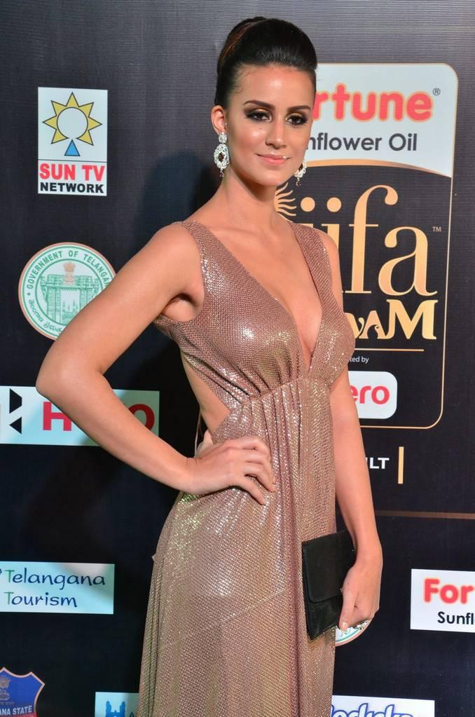 Hindi Actress Larissa Bonesi At IIFA Awards 2017 In Pink Dress