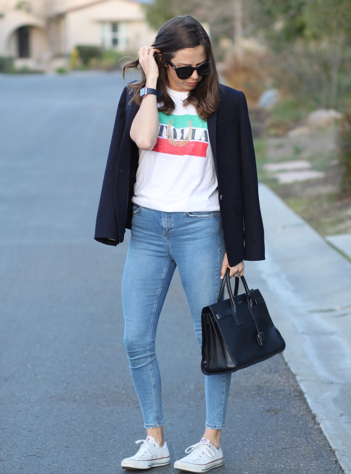 italia tee and blazer outfit