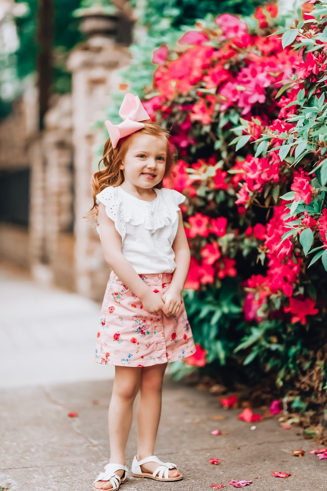Spring look for girls: Eyelet Flutter Sleeve Top + Floral Skirt and Butterfly Sandals  in Charleston - Something Delightful Blog  #springstyle #summerstyle