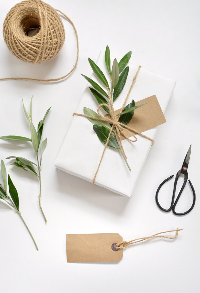 white kraft paper and foliage.