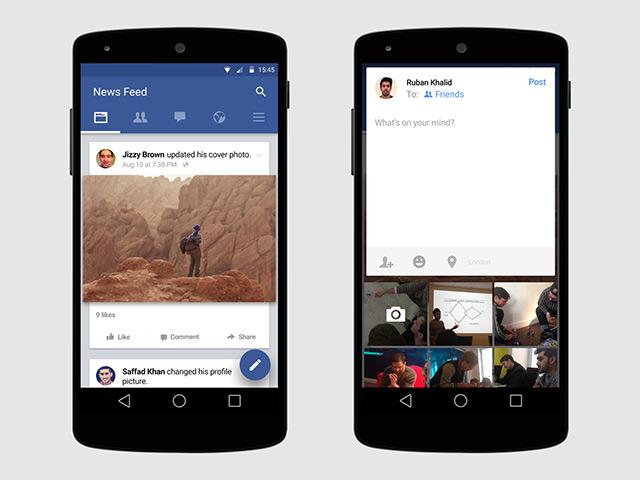 تطبيق فيس بوك على الأندرويد يأتي بتحديث Material Design للتحميل