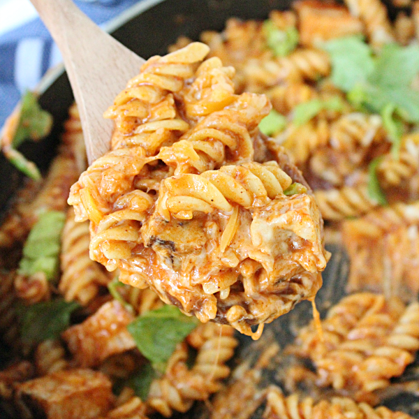 Skillet Chicken Enchilada Pasta: Table for Seven