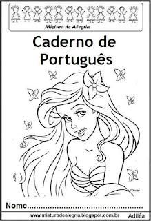 Capa caderno português princesas