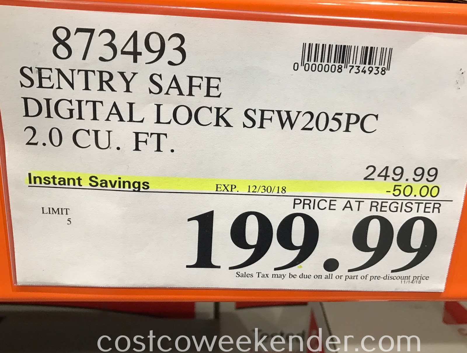 Deal for the SentrySafe SFW205GPC Digital Safe at Costco
