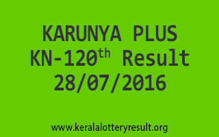 28-07-2016 THURSDAY KARUNYA PLUS KN-120 KERALA LOTTERY RESULTS