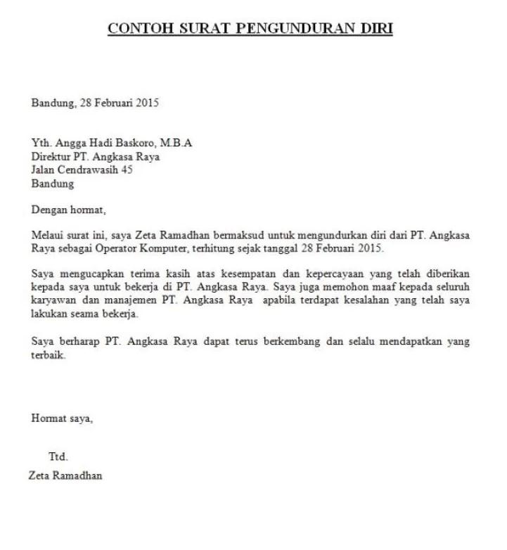 Contoh Surat Resign Pdf