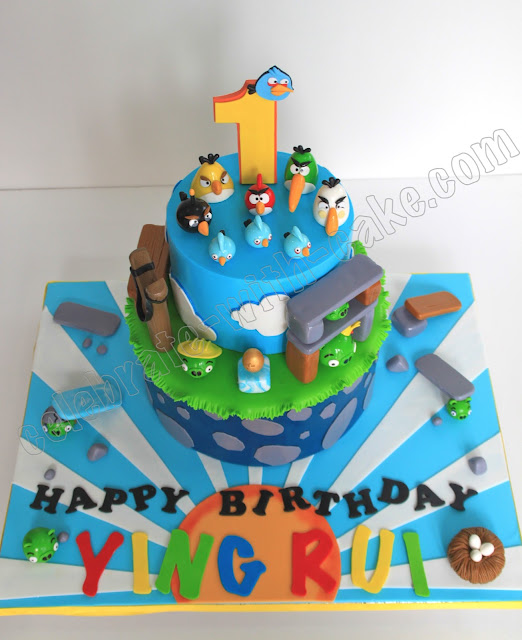 1st Birthday Angry Birds 2 Tier Cake