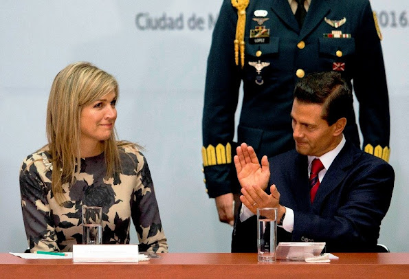 Queen Maxima attended the conference at National Palace in Mexico City. President Enrique Pena Nieto