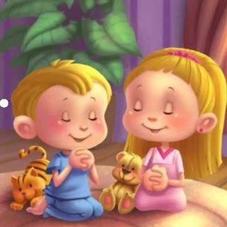 caricatruas de niños orando