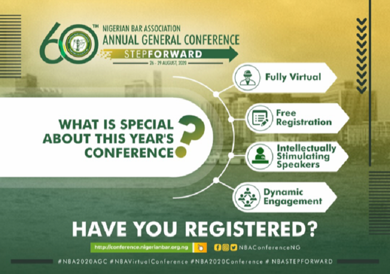 Click to register for 2020 NBA-AGC: https://conference.nigerianbar.org.ng/