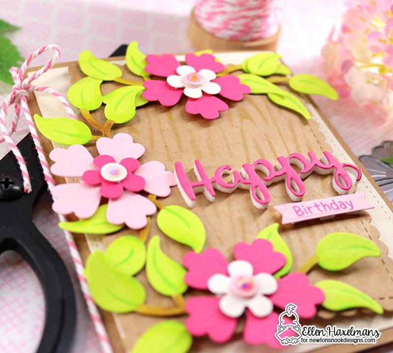 "Happy Birthday Floral Card by Ellen Haxelmans   Flower Trio, Holiday Greetings and ""Framework Die Sets with Woodgrain Stencil  by Newton's Nook Designs #newtonsnook #handmade"