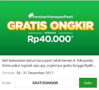 Buruan Belanja di Tokopedia dan Dapatkan Gratis Ongkir Hingga Rp. 40,000