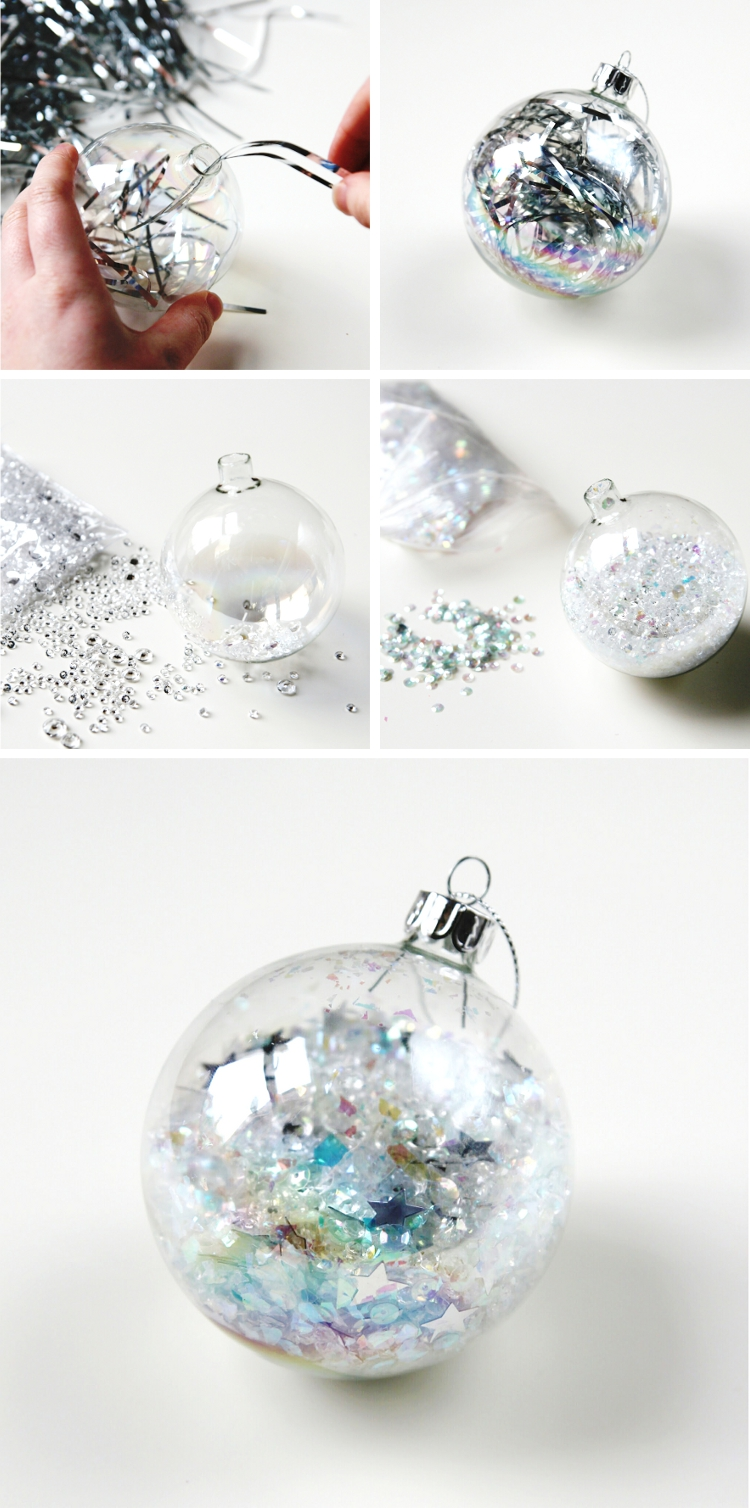 Diy Silver Tinsel Filled Christmas Baubles