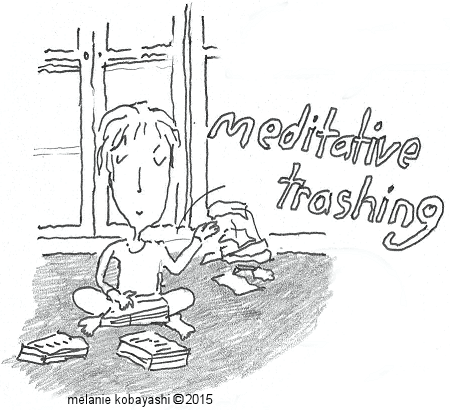 Meditative Trashing by Melanie Kobayashi of Bag and a Beret