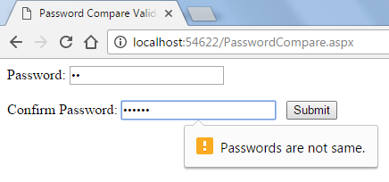 Password Compare Validation in HTML5 Using JavaScript In Asp