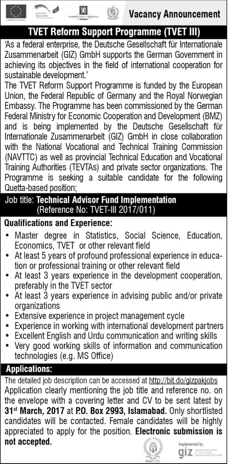 Technical Vocational Education Training Program Jobs