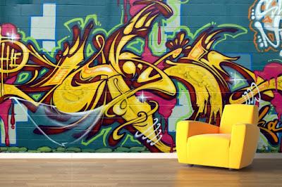 graffiti tapet gul fototapet ungdomsrum killtapet ungdomstapet