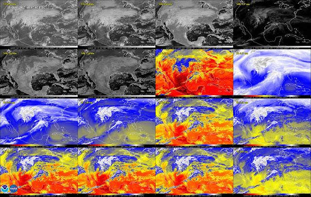 Hình ảnh Bắc Mỹ qua 16 bước sóng ánh sáng khác nhau. Hình ảnh: NOAA/NASA.