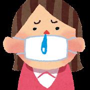 風邪・インフルエンザのイラスト「マスクと鼻水の女性」
