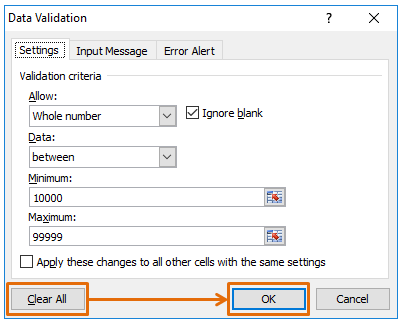 How to delete all data validation