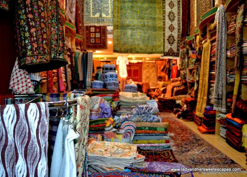 Arabian textile in Mutrah Souq Oman