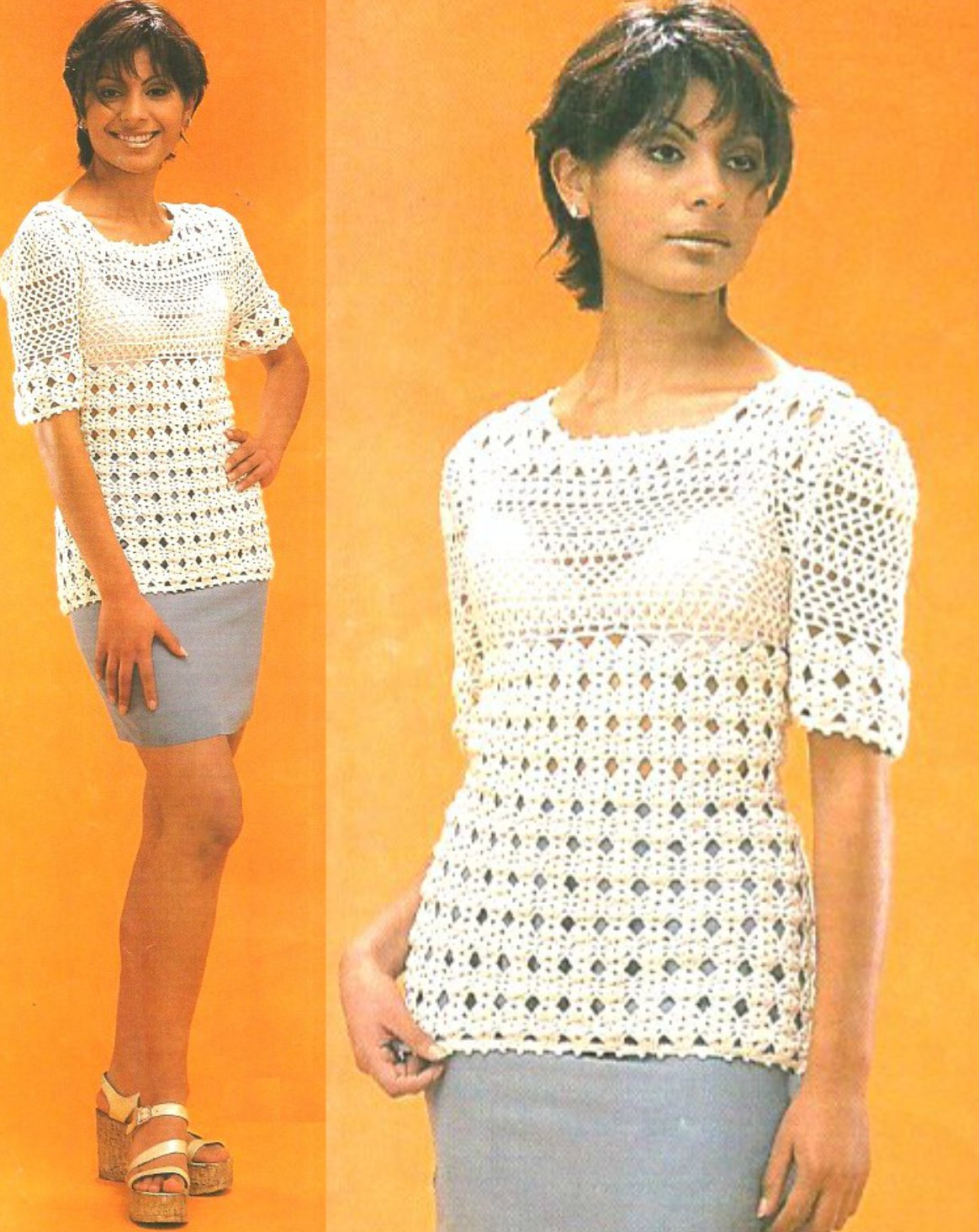 jersey top, patrones para crochet, top punto conchas arcos, ganchillo