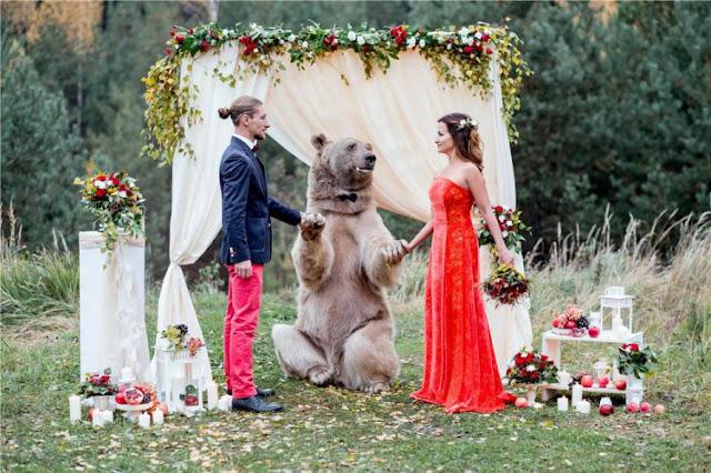 Ngeri Tapi Unik! Pasangan Pengantin ini Undang Seekor Beruang Jadi `Saksi` Pernikahan