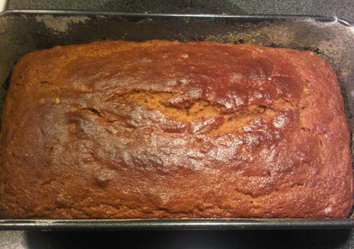 Baked Spiced Pecan Pumpkin Bread in bread pan
