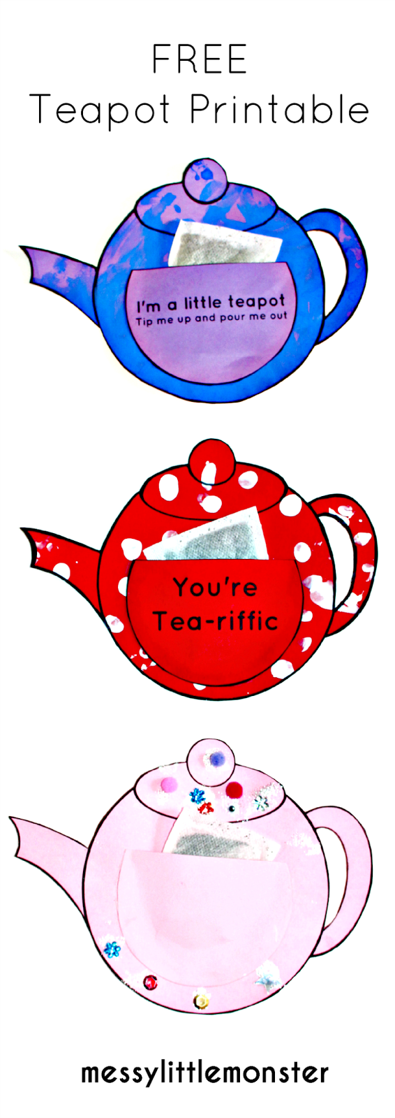 You're Tea-riffic easy teapot craft for kids with free printable teapot template. A simple paper craft and gift idea for babies, toddlers and preschoolers to make for mothers day, fathers day or as a teachers appreciation card. Also a fun activity to accompany the nursery rhyme 'I'm a little teapot'.