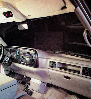 image in color of the interior of Matt Billmeier's 1995 Dodge Ram truck  highlighting the equipment behind on the dash