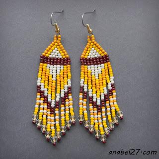 Серьги из бисера - желтый / кремовый / коричневый - 208 / 365