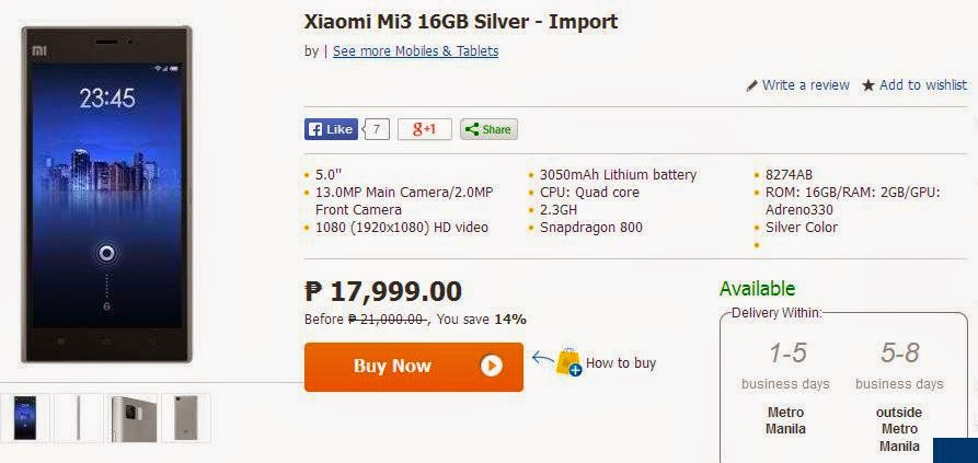 Xiaomi Mi3 and Hongmi Now Available At Lazada