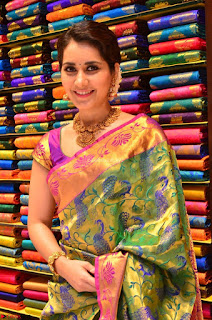 Raashi Khanna in colorful Saree looks stunning at inauguration of South India Shopping Mall at Madinaguda ~  Exclusive Celebrities Galleries 003