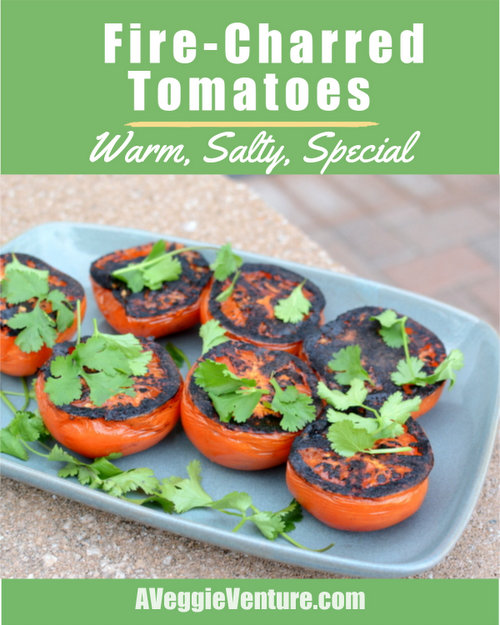 Fire-Charred Tomatoes, another easy way to love on summer tomatoes ♥ AVeggieVenture.com, just good tomatoes, salt and heat. Vegan. Weight Watchers Friendly. Naturally Gluten Free. Whole30 Friendly. Low Carb.