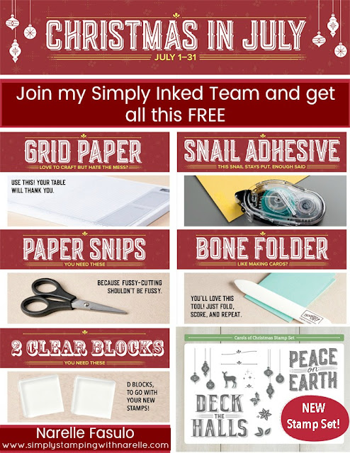 Join my Simply Inked Team - Stampin' Up! - Get all this for FREE - Narelle Fasulo - Simply Stamping with Narelle - join  here - http://www.stampinup.net/esuite/home/narellefasulo/jointhefun
