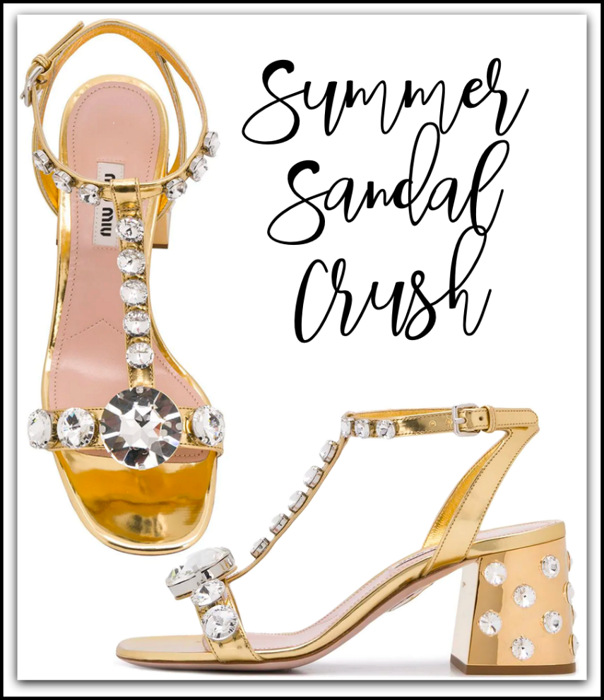 MIU MIU Metallic Embellished Sandals