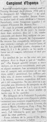 Recorte de Els Escacs a Catalunya sobre el match Dr. Rey Ardid contra Jaime Casas por el Campeonato de España de 1933