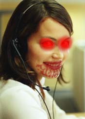 A telemarketer shortly after her daily lunch of innocent children