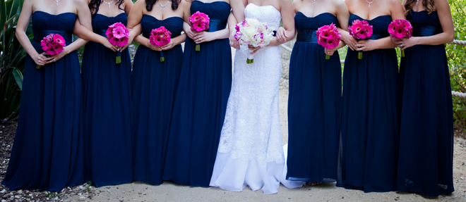 Nautical wedding with pink and magenta accents belle the for Pink and blue wedding dresses