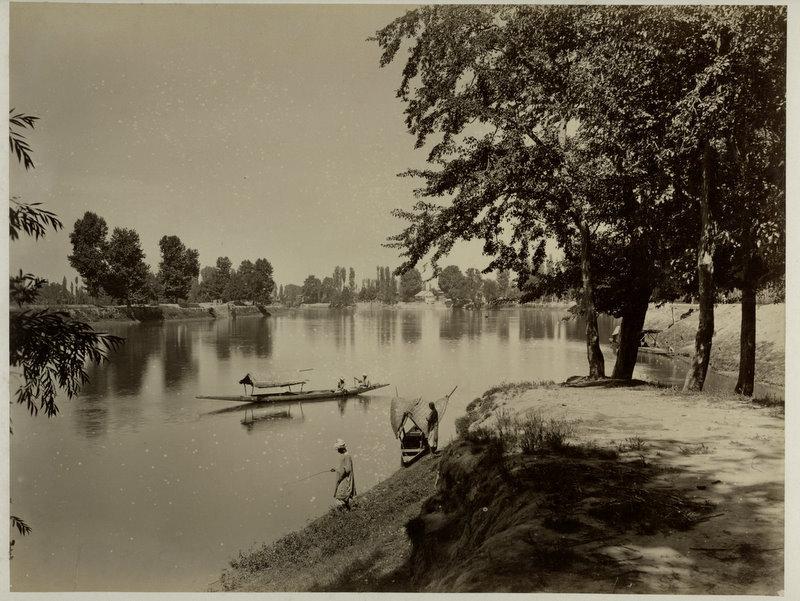 Boat in the Lake of Srinagar, Kashmir - c1870's