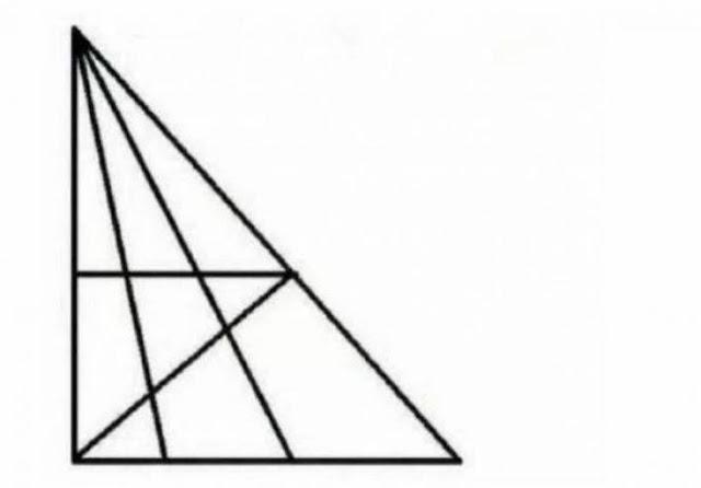 حاول أن تجد أكثر من 18 مثلثاً في هذه الصورة ان استطعت إن مستوى ذكائك يتعدى ال120!  وإن لم تستطع فإليك الحل:
