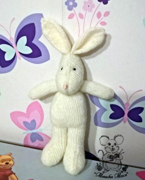 игрушка для фотосессий новорожденных, вязаная игрушка на заказ, белый зайчик