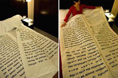 Diseño de sabanas que parecen páginas de libros