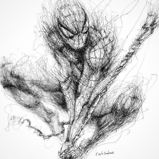 04-Spider-Man-Erick-Centeno-Superheroes-Celebrities-and-Cartoons-Scribble-Drawings-www-designstack-co